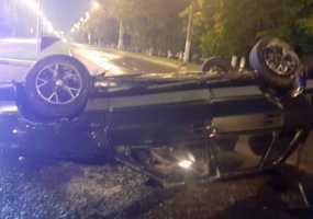 На одной из улиц Нижнекамска перевернулся автомобиль